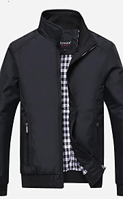 Муж. Куртка Воротник-стойка Классический - Однотонный, Хлопок