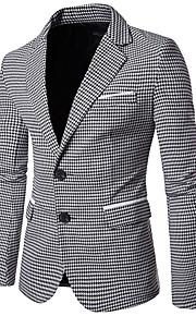בגדי ריקוד גברים תלתן שחור L XL XXL בלייזר עסקים / וינטאג' Houndstooth דש רשמי רזה / שרוול ארוך / סתיו / עבודה / עסקים מקרית
