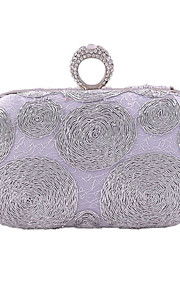 Women's Bags Polyester Evening Bag Appliques for Wedding Event/Party All Seasons Black Silver