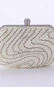 Women's Bags Polyester Evening Bag Crystal Detailing Pearl Detailing for Wedding Event/Party All Seasons Champagne White Black Almond