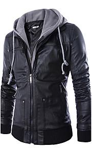 Муж. Повседневные / выходные Простой / На каждый день Зима Обычная Кожаные куртки, Однотонный / Контрастных цветов Капюшон Длинный рукав Полиуретановая Черный XXL / XXXL / 4XL