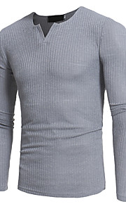 Hombre Básico Tallas Grandes Camiseta Delgado Un Color Wine XL / Manga Larga / Otoño