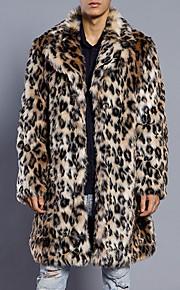 男性用 日常 / 週末 ストリートファッション 冬 プラスサイズ ロング ファーコート, レオパード ノッチドラペル 長袖 フェイクファー ブラウン XL / XXL / XXXL / 特大の