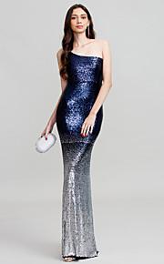Tube / kolonne Etskuldret Gulvlang Polyester Skolebal / Formel aften / Bryllupsfest Kjole med Paillette ved TS Couture®
