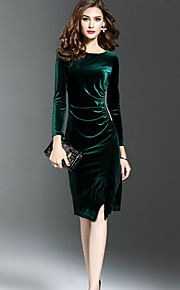 Women's Plus Size Going out Sophisticated Velvet Sheath Dress - Solid Color / Fall / Winter / Split / Slim