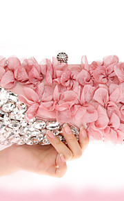 Women's Bags Chiffon Evening Bag Crystal Detailing Flower for Wedding Event/Party All Seasons Blushing Pink Navy Blue Purple Almond
