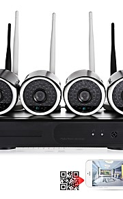 yanse® 4ch trådløs nvr kit 1.0mp vandtæt nattesyn sikkerhed ip kamera wifi overvågning cctv system