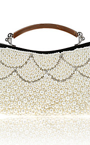Women's Bags Polyester Evening Bag Pearl Detailing for Wedding Event/Party All Seasons Champagne Black Beige