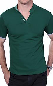男性用 プラスサイズ Polo 活発的 スタンド スリム ソリッド コットン / 半袖