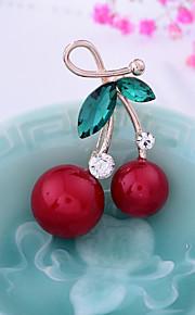 Femme Broche Strass Perle imitée Alliage Irrégulier Rouge Fruit Adorable Doux Bijoux Noël Mariage Bijoux de fantaisie