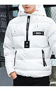 Ανδρικά Καθημερινά Μονόχρωμο Ενισχυμένο, Βαμβάκι Μακρυμάνικο Χειμώνας Λευκό / Μαύρο L / XL / XXL