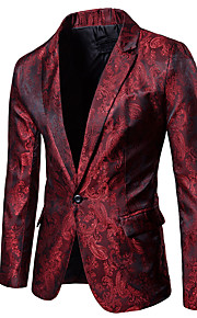 Men's Casual / Daily Sophisticated Spring / Fall Regular Blazer, Floral Print Shirt Collar Long Sleeve Polyester Cut Out Black / Purple / Wine XL / XXL / XXXL / Slim