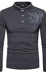 男性用 プリント Tシャツ アジアン・エスニック スタンド スリム フラワー コットン / 長袖
