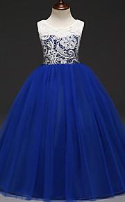 아동 여아 단 파티 컬러 블럭 레이스 민소매 면 / 폴리에스테르 드레스 클로버