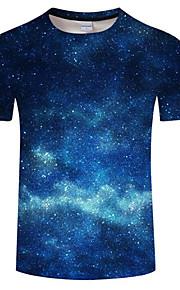 Hombre Tallas Grandes Estampado Camiseta, Escote Redondo Bloques Azul Piscina XXXXL / Manga Corta / Verano