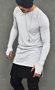 남성용 솔리드 라운드 넥 티셔츠, 베이직 / 펑크 & 고딕 클럽 면 화이트 L / 긴 소매