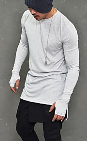 Hombre Básico / Punk & Gótico Discoteca Algodón Camiseta, Escote Redondo Un Color Blanco L / Manga Larga