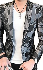 Hombre Fiesta / Diario / Festivos Activo Primavera / Otoño Regular Blazer, Geométrico Solapa de Pico Manga Larga Poliéster Estampado Rojo / Azul Marino / Gris XL / XXL / XXXL