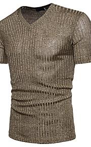 남성용 솔리드 V 넥 스팽글 - 티셔츠, 베이직 면 블랙 XL / 짧은 소매 / 여름
