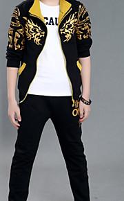 Çocuklar Genç Erkek Günlük Solid Uzun Kollu Pamuklu Polyester Kıyafet Seti Siyah / Sevimli