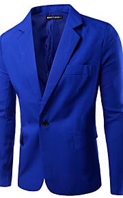 בגדי ריקוד גברים ירוק צבא חאקי כחול ים XL XXL XXXL בלייזר אחיד בסיסי דש קלאסי רזה / שרוול ארוך / אביב / עבודה / עסקים מקרית