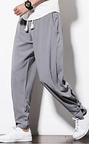 Hombre Tejido Oriental Tallas Grandes Lino Pantalones Harén / Corte Ancho / Pantalones de Deporte Pantalones - Un Color Azul Marino / Primavera