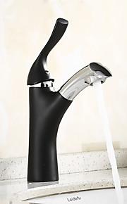 バスルームのシンクの蛇口 - 組み合わせ式 タッチ / タッチレス ブラック 洗面ボウル シングルハンドルつの穴