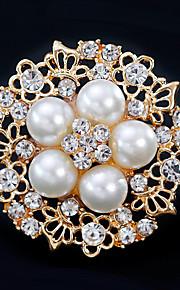 Per donna Spille Strass Perla Lega Fiore decorativo Oro Argento Florale Di tendenza Europeo Gioielli Matrimonio Quotidiano Bigiotteria