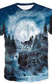 男性用 クラブ - プリント プラスサイズ Tシャツ ストリートファッション ラウンドネック 動物 オオカミ / 半袖