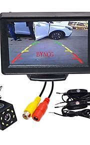BYNCG WG4.3T-8LED 4.3 tommer (ca. 11cm) TFT-LCD 480TVL 480p 1/4 tommer CMOS PC7030 120 grader 1pcs 120° 0.3inch Bil bagside sæt