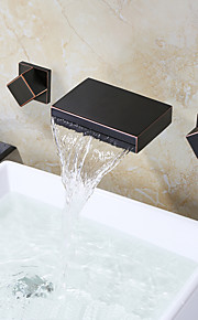 バスルームのシンクの蛇口 - 滝状吐水タイプ オイルブロンズ 壁式 二つのハンドル三穴