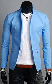 Hombre Diario / Trabajo Simple / Casual Primavera / Otoño Regular Blazer, Un Color Solapa de Pico Manga Larga Lino Verde / Azul / Azul Claro