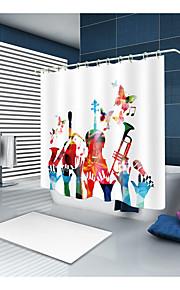 シャワーカーテン&フック クラシック 新古典主義 ポリエステル 現代風 ノベルティ柄 機械製 防水 浴室