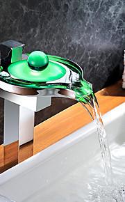 バスルームのシンクの蛇口 - 滝状吐水タイプ タッチ / タッチレス LED クロム 洗面ボウル シングルハンドルつの穴