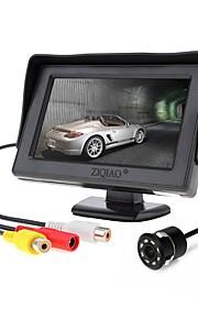ZIQIAO 4.3 tommer (ca. 11cm) TFT-LCD CCD Ledning 170 grader Bil bagside sæt Vandtæt for Bil