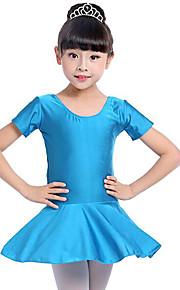 Ballet Vestidos Chica Entrenamiento Rendimiento Licra Fruncido Manga Corta Cintura Media Vestido