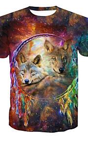 男性用 プリント Tシャツ ベーシック ラウンドネック 動物 / 半袖