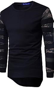 Herrn Einfarbig / camuflaje - Grundlegend / Militär Sport Baumwolle T-shirt, Rundhalsausschnitt Patchwork Schwarz XL / Langarm