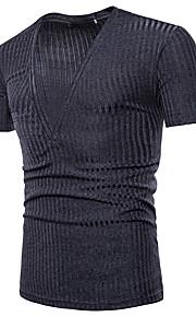 Ανδρικά T-shirt Ενεργό / Βασικό - Βαμβάκι Μονόχρωμο / Ριγέ Λαιμόκοψη V Λεπτό Μαύρο L / Κοντομάνικο / Καλοκαίρι