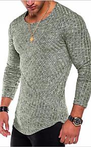 남성용 솔리드 라운드 넥 티셔츠, 베이직 면 퍼플 XL / 긴 소매