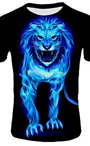 Hombre Playa Estampado - Algodón Camiseta, Escote Redondo Delgado Bloques / Animal León Negro XXL / Manga Corta