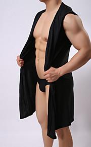 Муж. Сексуальные платья Шёлк и сатин Ночное белье - Шнуровка Однотонный / Капюшон