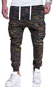 Муж. Большие размеры Хлопок Тонкие Штаны / Брюки-карго Брюки - камуфляж Военно-зеленный