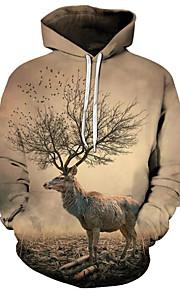 Ανδρικά Ενεργό / Εξωγκωμένος Μεγάλα Μεγέθη Φαρδιά Παντελόνι - 3D / Κινούμενα σχέδια Στάμπα Κίτρινο / Με Κουκούλα / Μακρυμάνικο / Φθινόπωρο / Χειμώνας