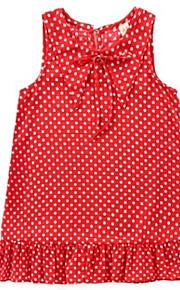 Děti Dívčí Aktivní Denní Puntíky Tisk Bez rukávů Délka ke kolenům Bavlna / Polyester Šaty Rubínově červená