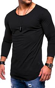 Hombre Algodón Camiseta, Escote Redondo Un Color Azul Marino XL / Manga Larga