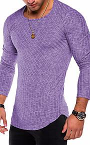 Herrn Solide - Grundlegend / Militär Übergrössen Baumwolle T-shirt, Rundhalsausschnitt Purpur XL / Langarm