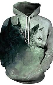 Ανδρικά Βασικό / Εξωγκωμένος Μεγάλα Μεγέθη Φαρδιά Παντελόνι - 3D Λύκος, Στάμπα Πράσινο του τριφυλλιού / Με Κουκούλα / Αθλητικά / Μακρυμάνικο / Φθινόπωρο / Χειμώνας