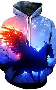 Ανδρικά Ενεργό / Εξωγκωμένος Μεγάλα Μεγέθη Φαρδιά Παντελόνι - 3D / Κινούμενα σχέδια Στάμπα Θαλασσί / Με Κουκούλα / Μακρυμάνικο / Φθινόπωρο / Χειμώνας