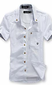 رجالي قميص قياس كبير نحيل ياقة مع زر سفلي أساسي لون سادة, شاطئ خمر XL / كم قصير / الصيف